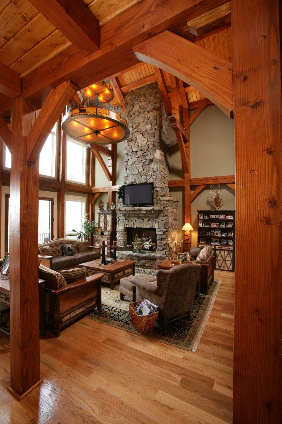 Photo gallery natural element homes for Timber frame home interiors