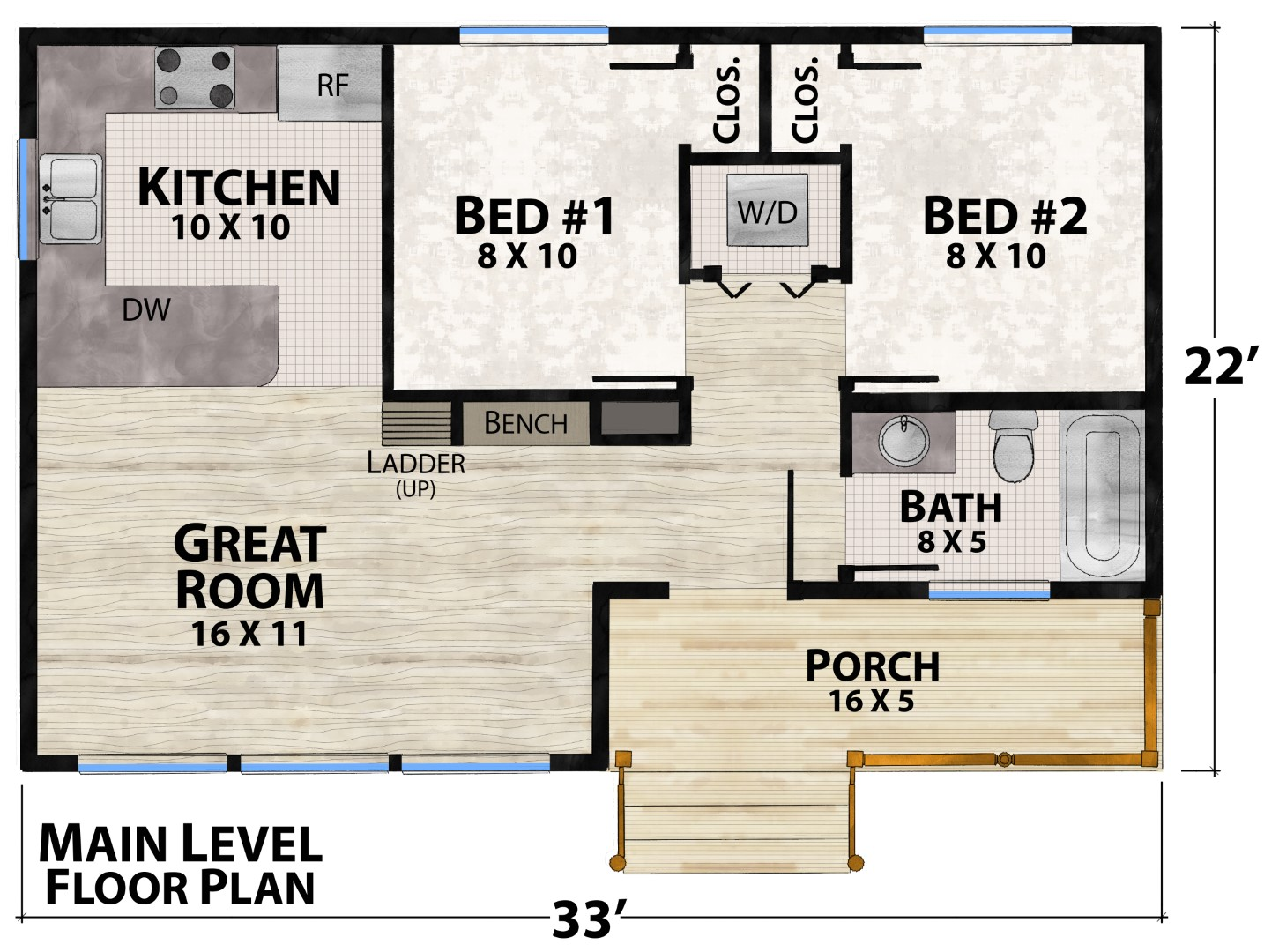 Camping Cabin Main Floor Plan by Natural Element Homes