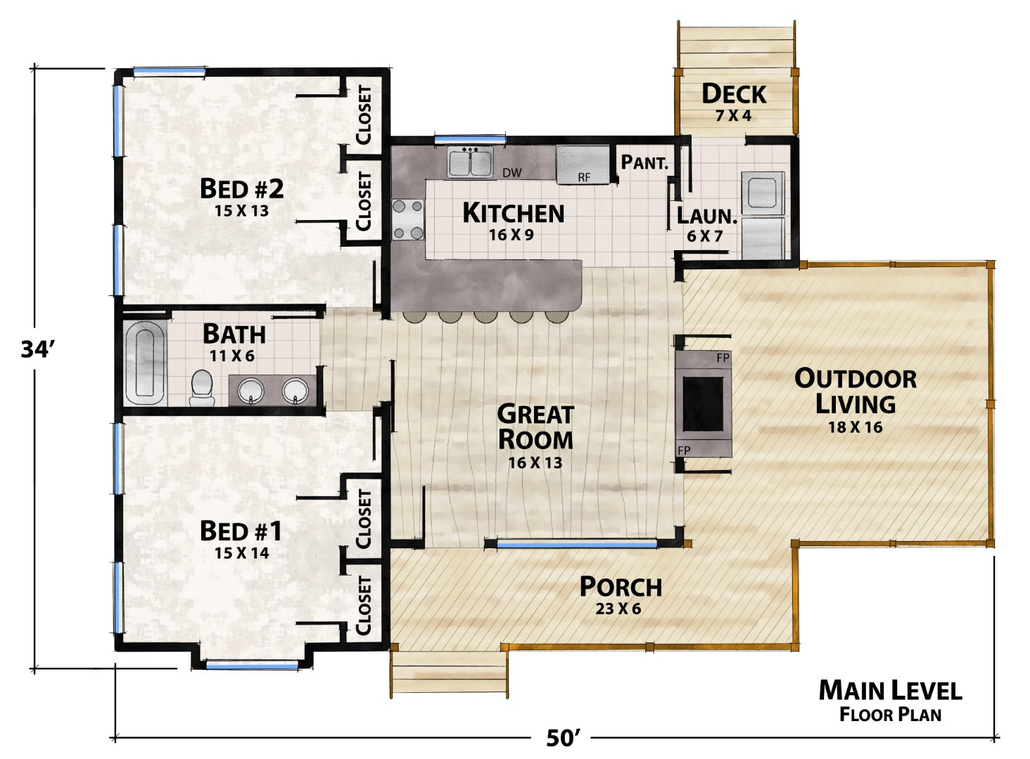 Cubby Hole Camp Main Floor Plan by Natural Element Homes