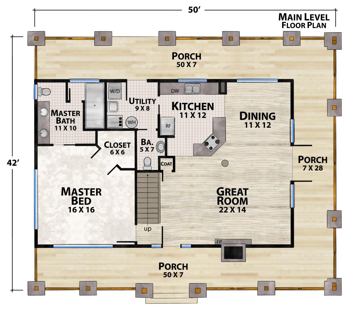 Deep Gap Lodge Main Floor Plan by Natural Element Homes