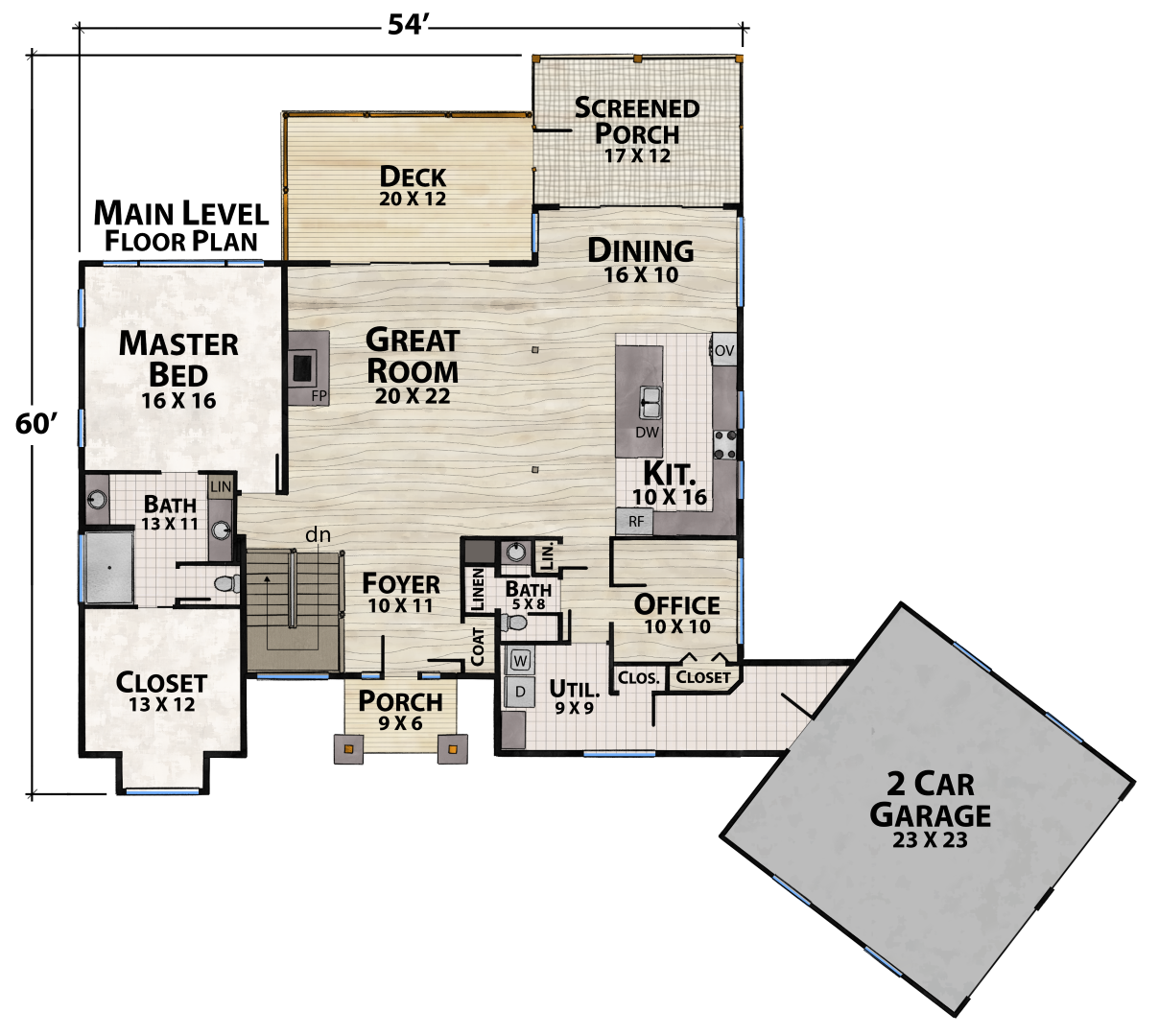 Empty Nest Main Floor Plan by Natural Element Homes