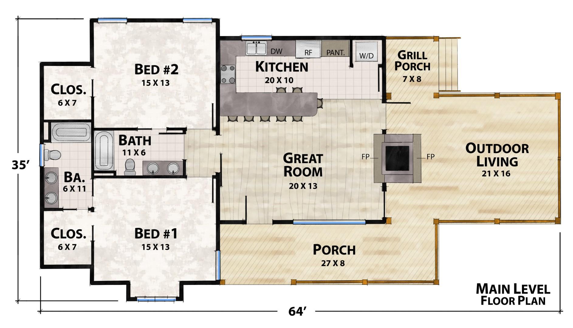 Farmhouse Retreat B Main Floor Plan by Natural Element Homes