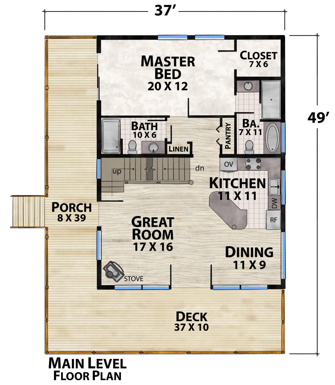 Lake Tahoe Retreat Main Floor Plan by Natural Element Homes