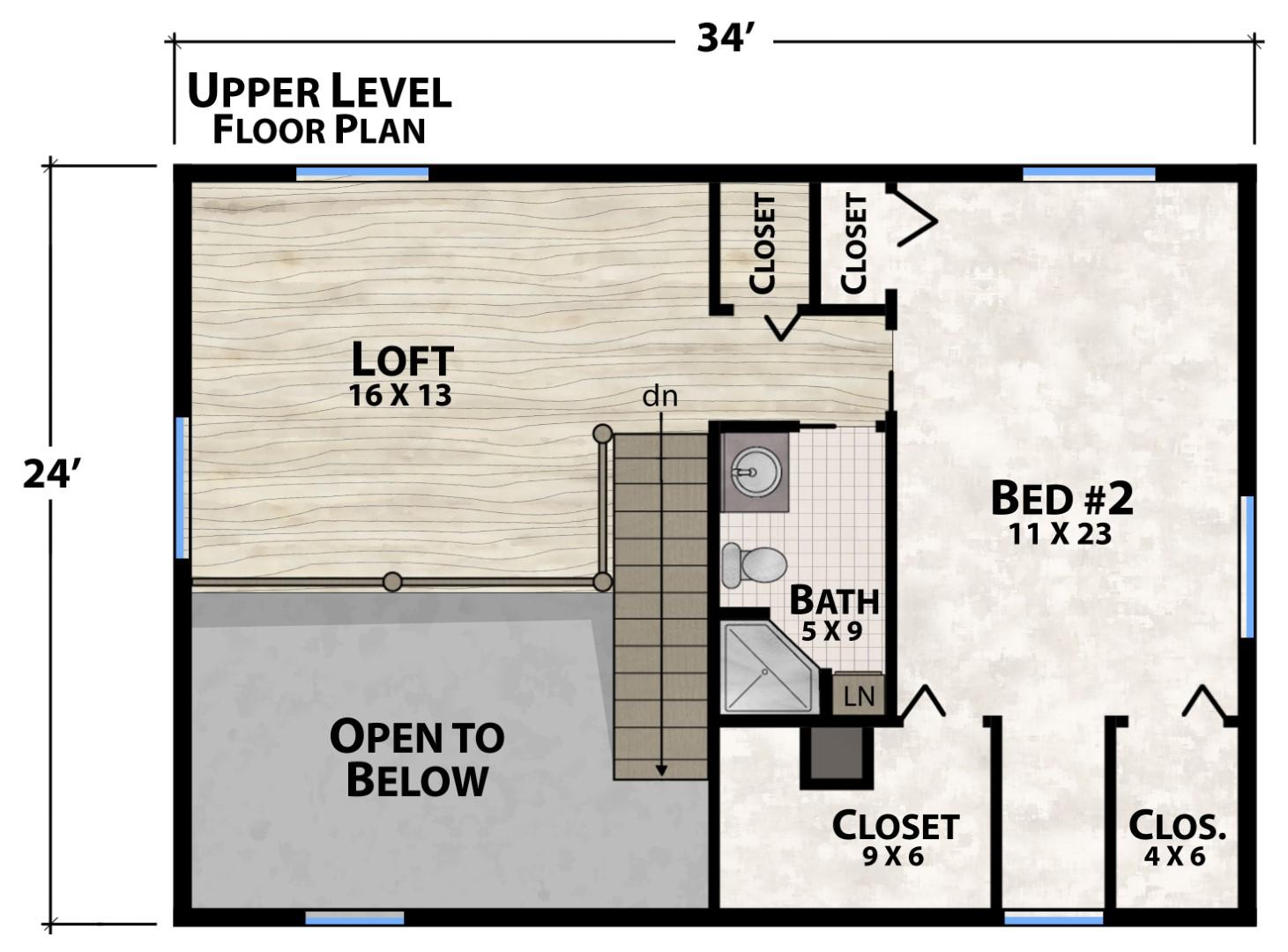 Rock Wren Upper Floor Plan by Natural Element Homes