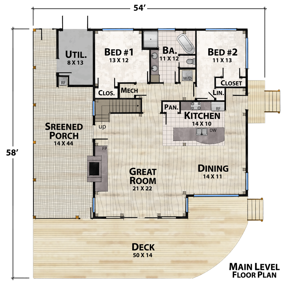 Rocky Mountain Retreat Main Floor Plan by Natural Element Homes
