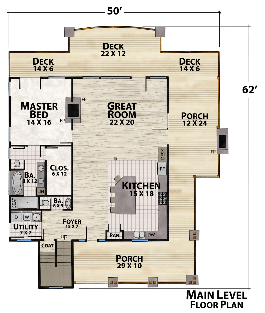 Rye Mountain Lodge Main Floor Plan by Natural Element Homes