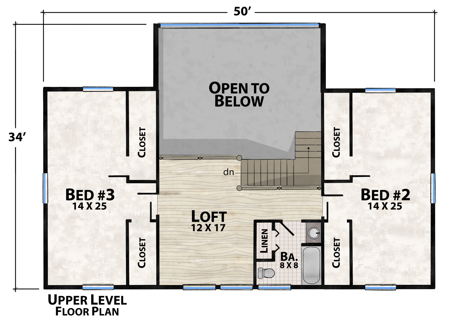 Starr Mountain Upper Floor Plan by Natural Element Homes