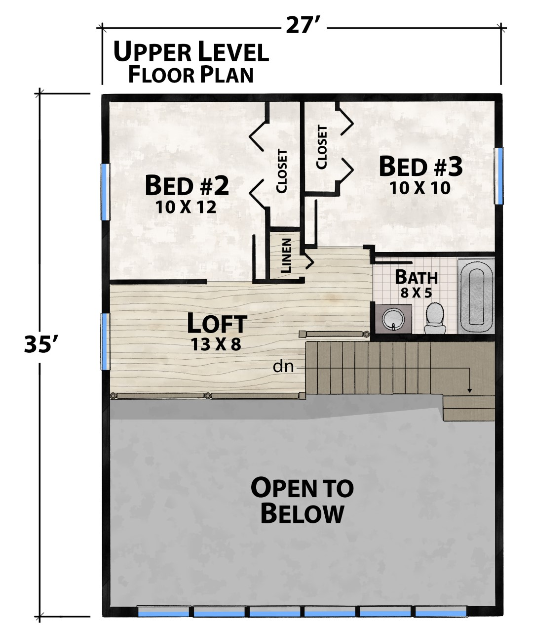 Tommy Toe Upper Floor Plan by Natural Element Homes