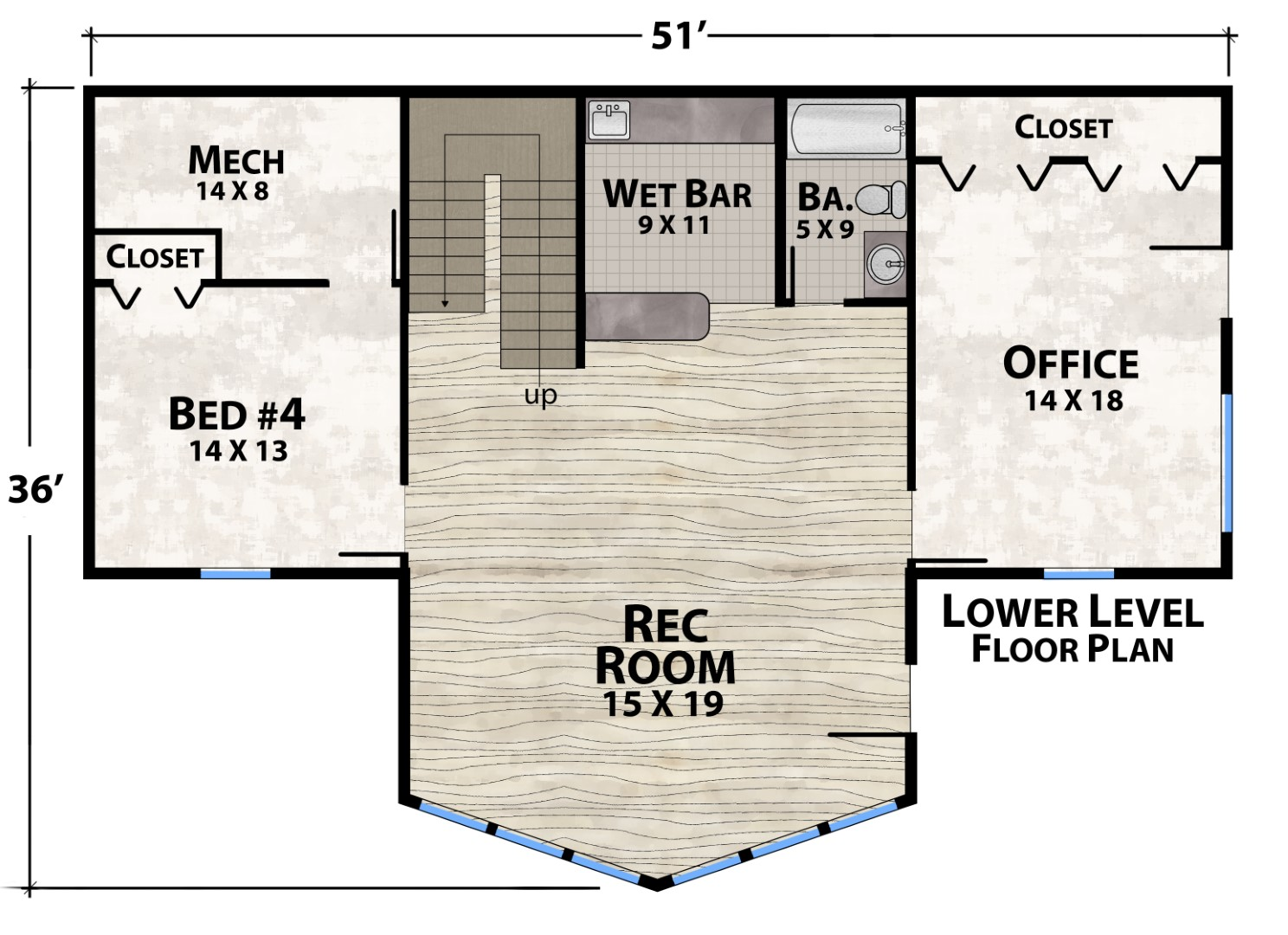 Tucked In Lodge Lower Floor Plan by Natural Element Homes