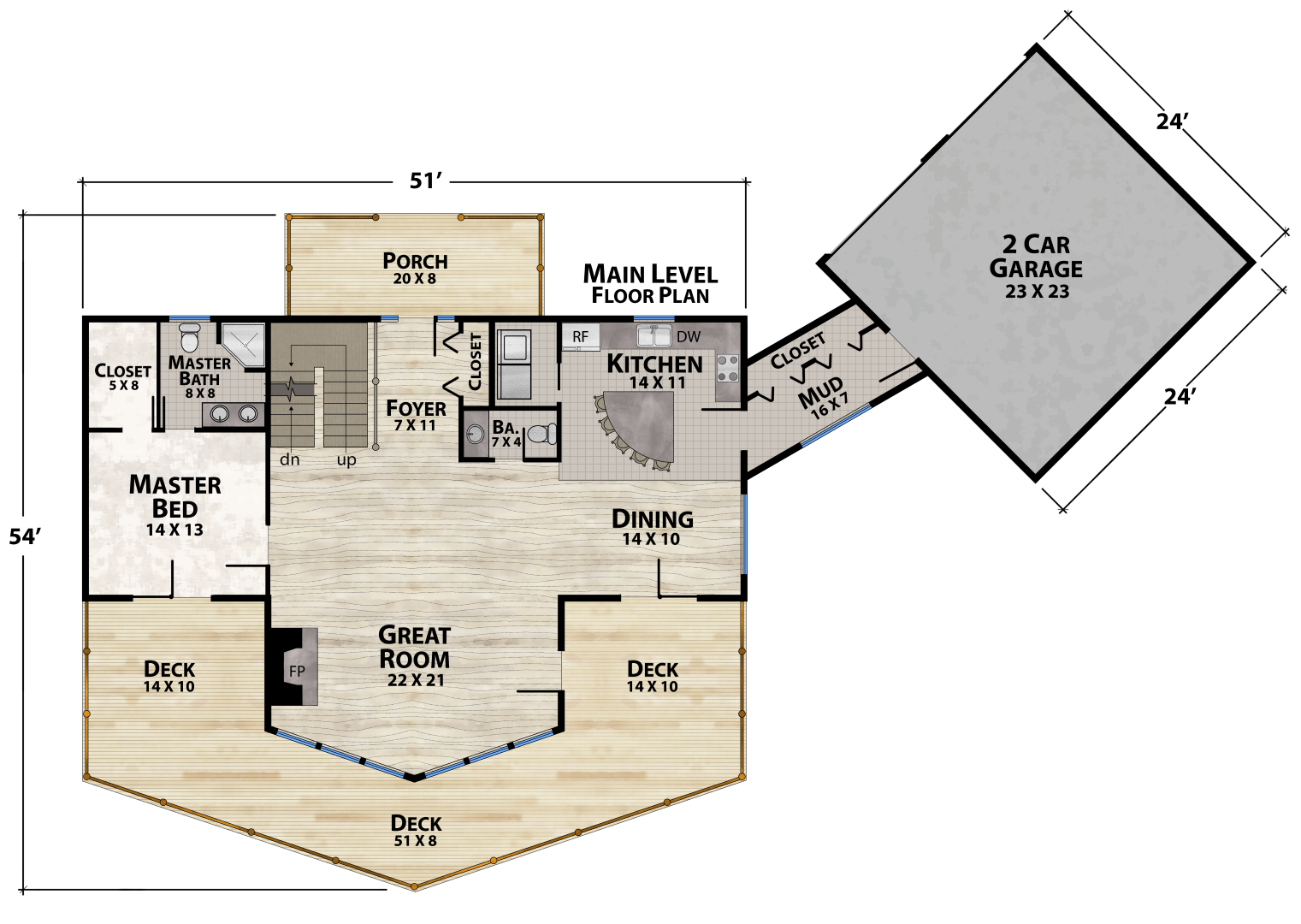 Tucked In Lodge Main Floor Plan by Natural Element Homes