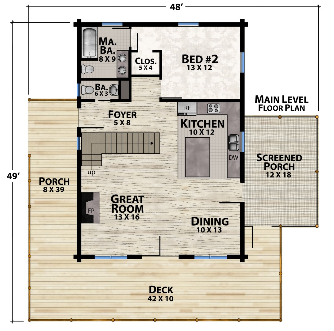 Vista View Camp Main Floor Plan by Natural Element Homes