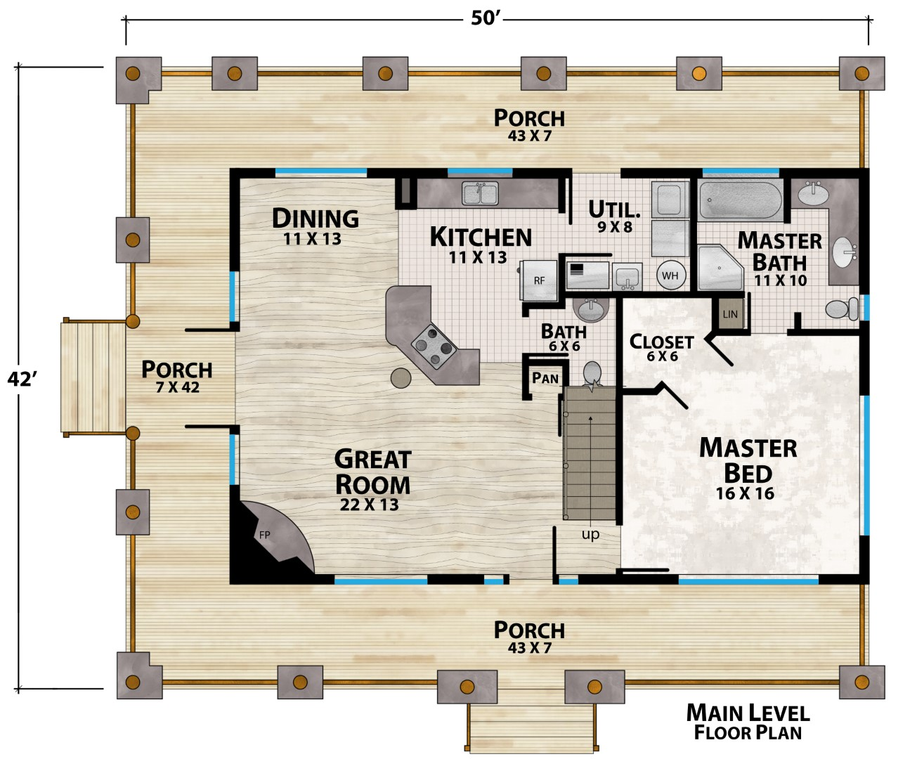 Mountain View Lodge Main Floor Plan by Natural Element Homes