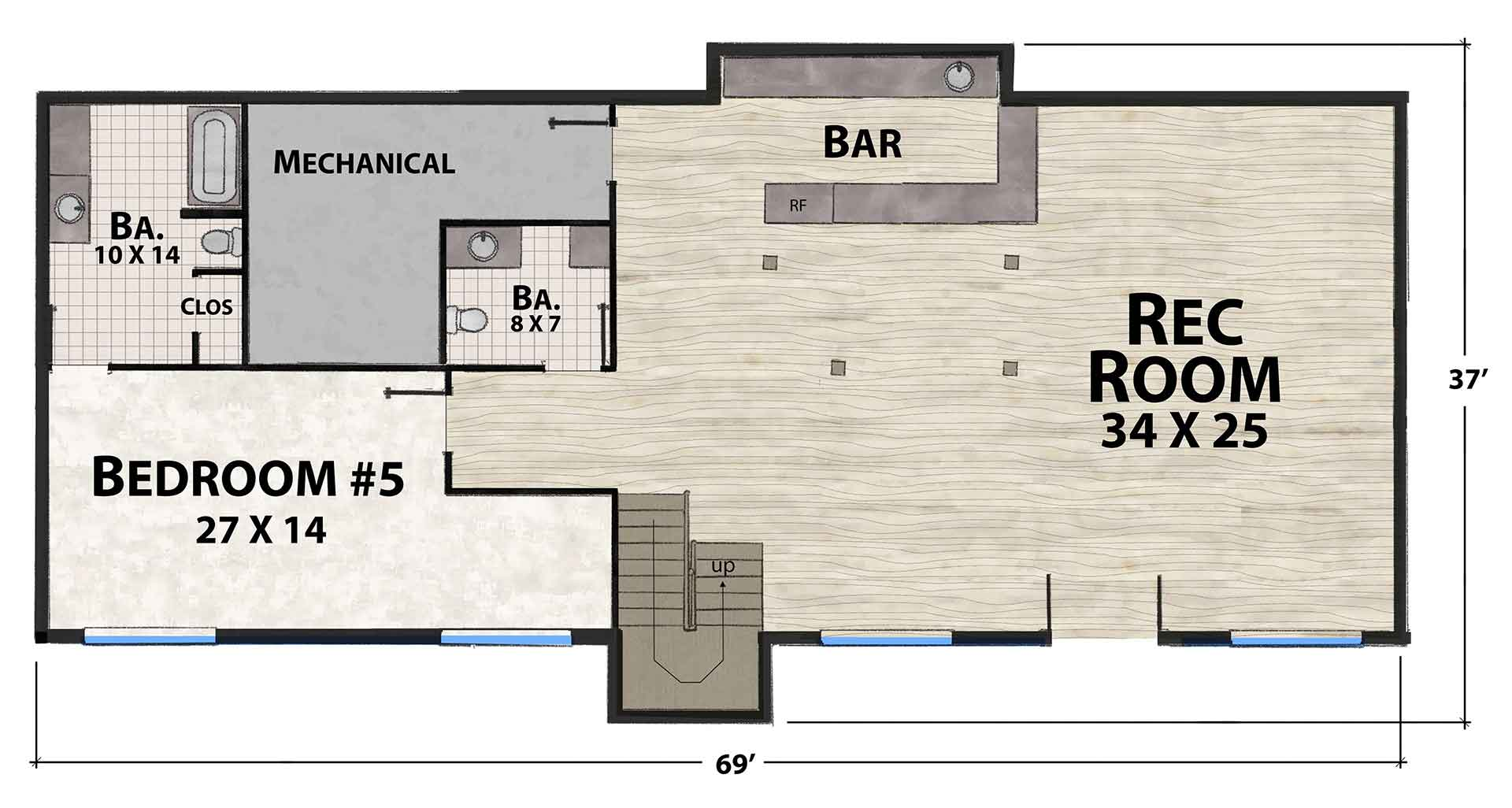 Ravens Nest North Lower Floor Plan by Natural Element Homes