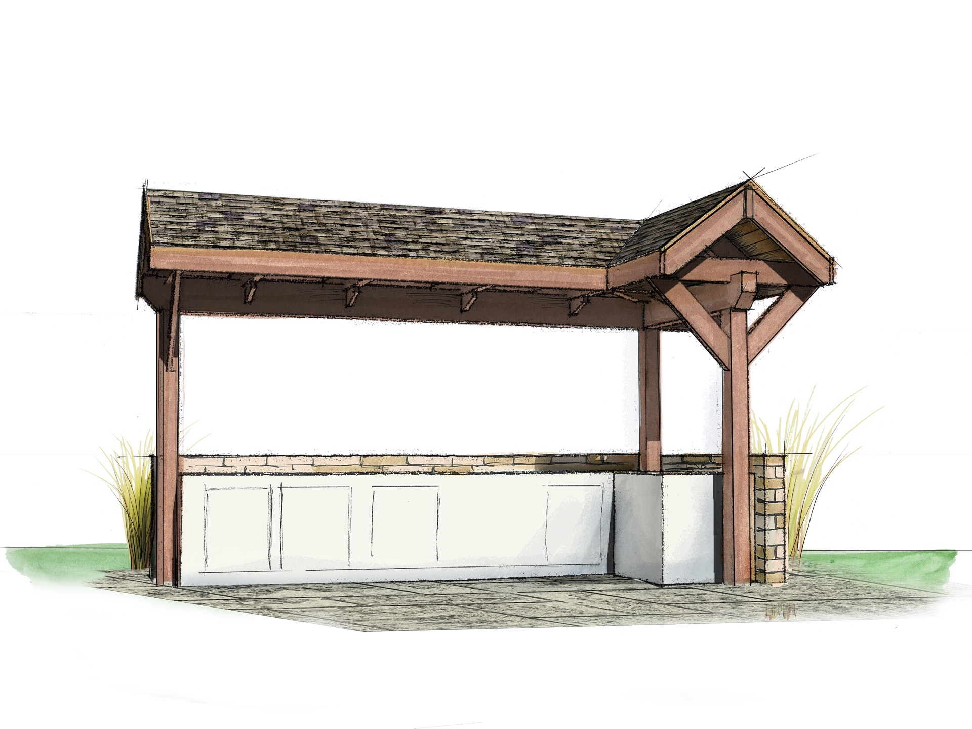 Outdoor Grilling Area by Natural Element Homes