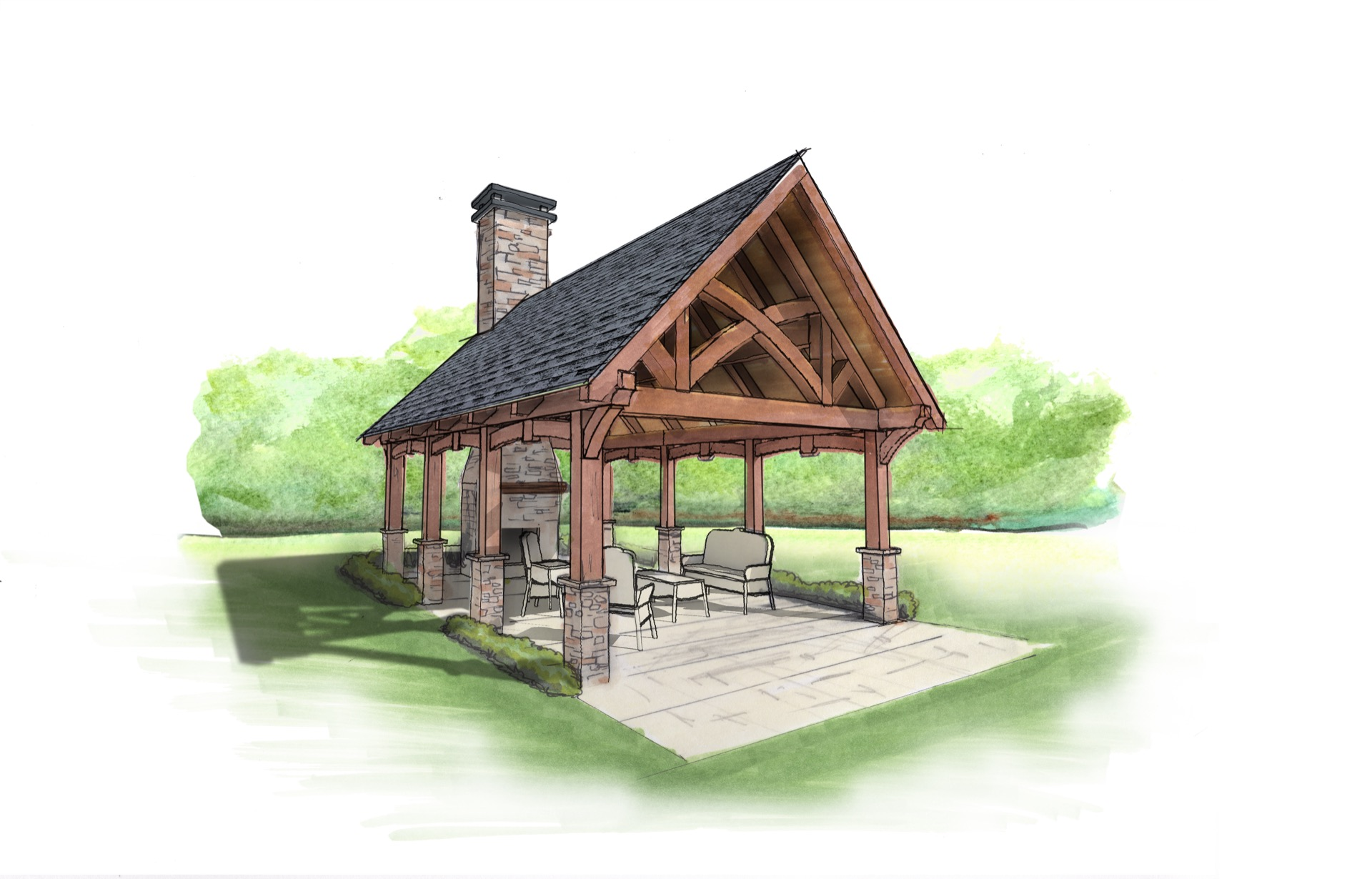Outdoor Living Pavilion by Natural Element Homes