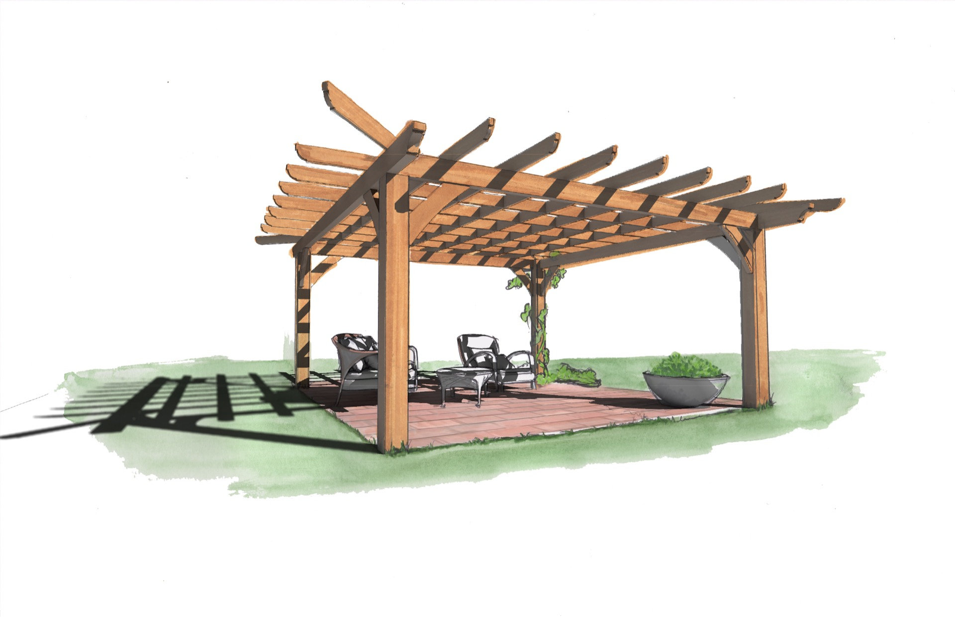 Outdoor Living Pergola by Natural Element Homes